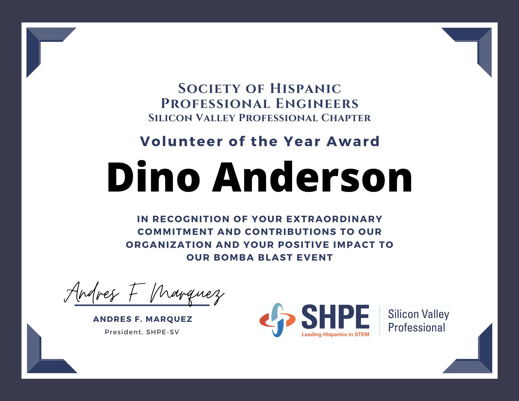Volunteer SHPE Award